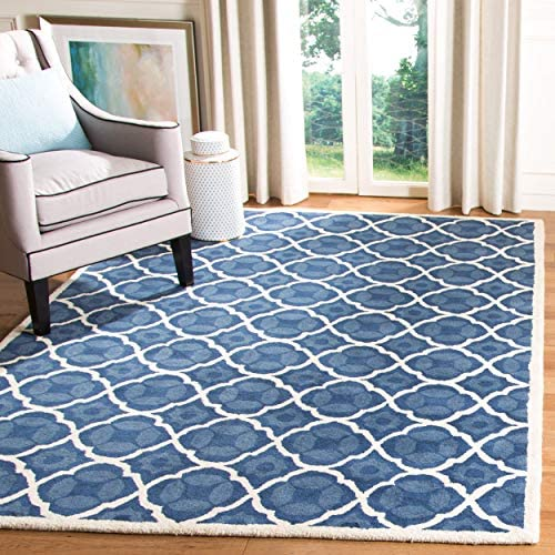 Safavieh Chatham Collection CHT821A Handmade Blue and Ivory Premium Wool Area Rug 8 9 x 12