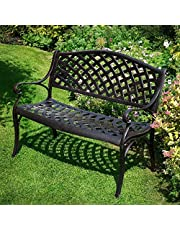 Lazy Susan - Banc de jardin en aluminium JASMINE, coloris Bronze Ancien