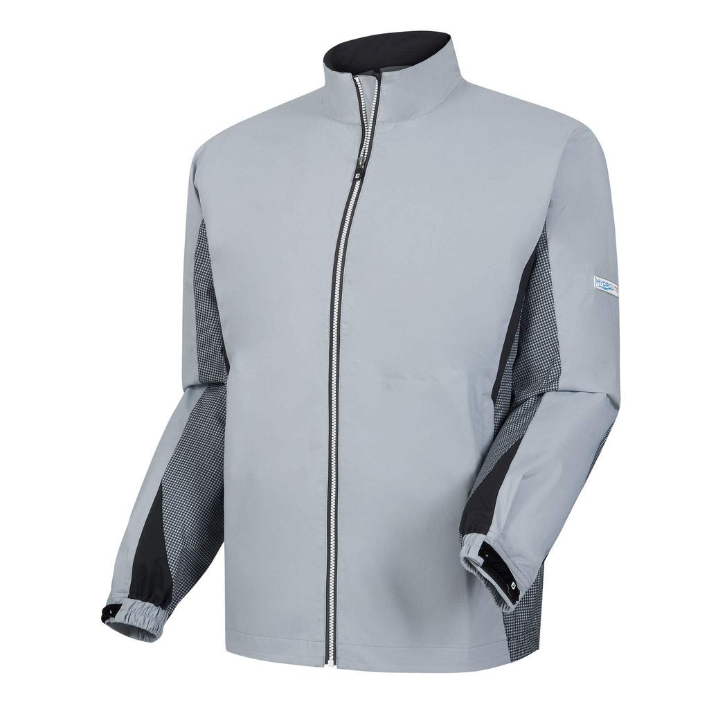 Footjoy Men's DryJoys Hydrolite Rain Jacket (Grey/Navy/Hounstooth, Large)