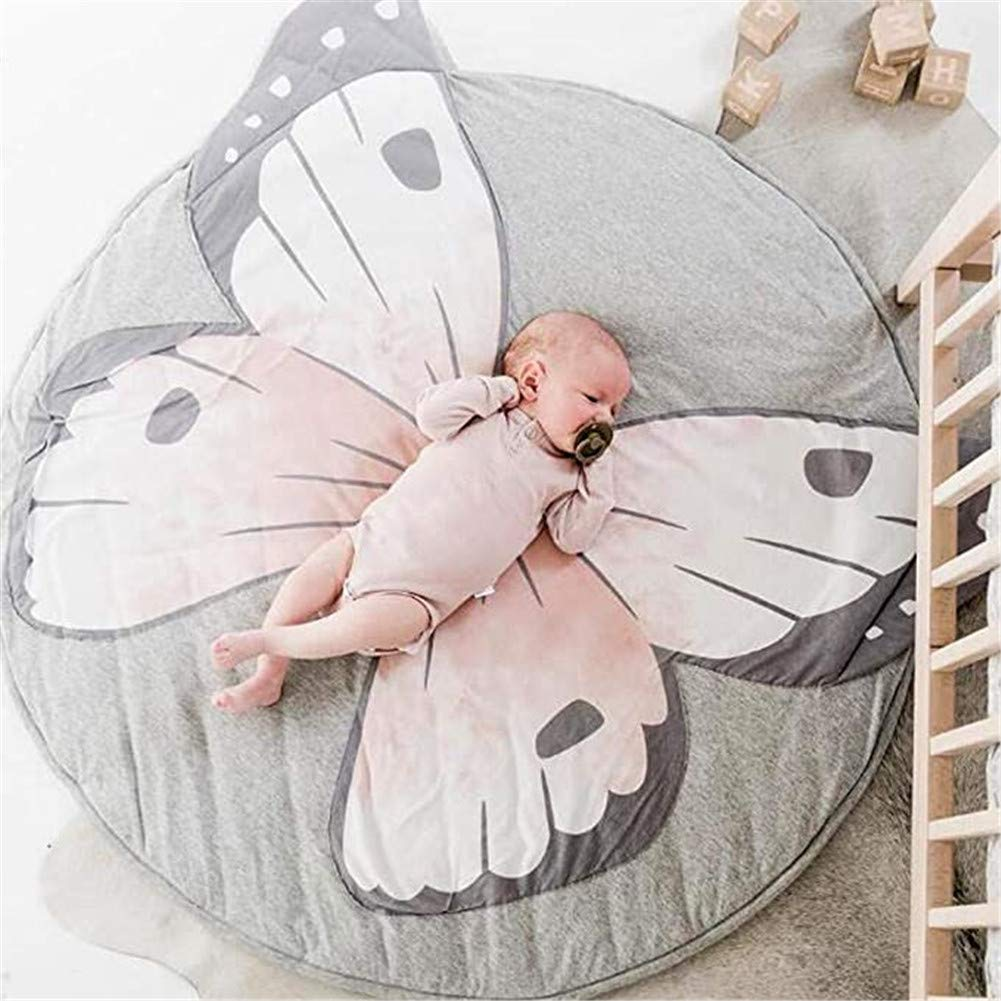 GABWE Round Rug Butterfly Elk Elephant Fox Carpet Cotton for Baby Floor Play mats Kids Room Decoration 35.4 inches