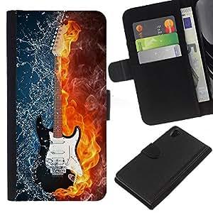 KingStore / Leather Etui en cuir / Sony Xperia Z2 D6502 / Las llamas de fuego Mapa del rock Guitarrista Rock Metal
