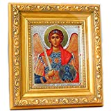 Saint St Michael Icon Authentic Russian Wood Wall Gold Framed 6 1/4 Inch