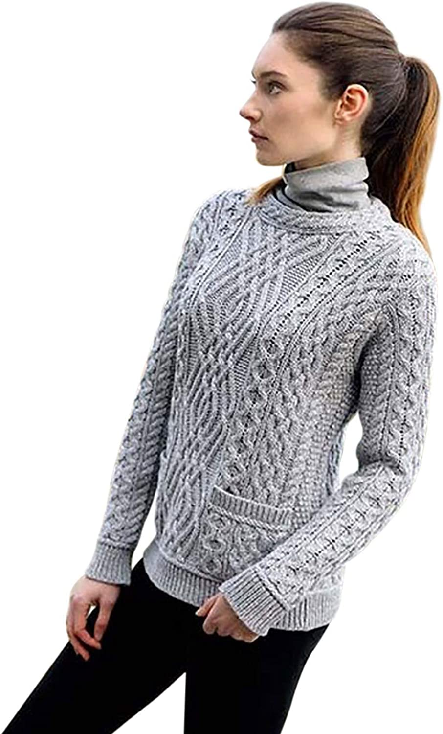 West End Knitwear Irish Cable Crew Neck Merino Wool Sweater with Pockets (Grey, Large)