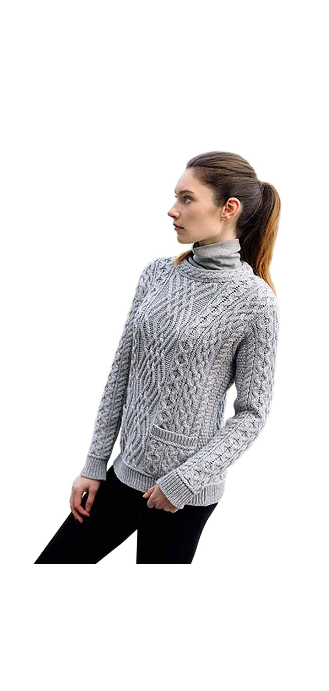 Ladies  Irish Merino Wool Cable Sweater With Pockets By West