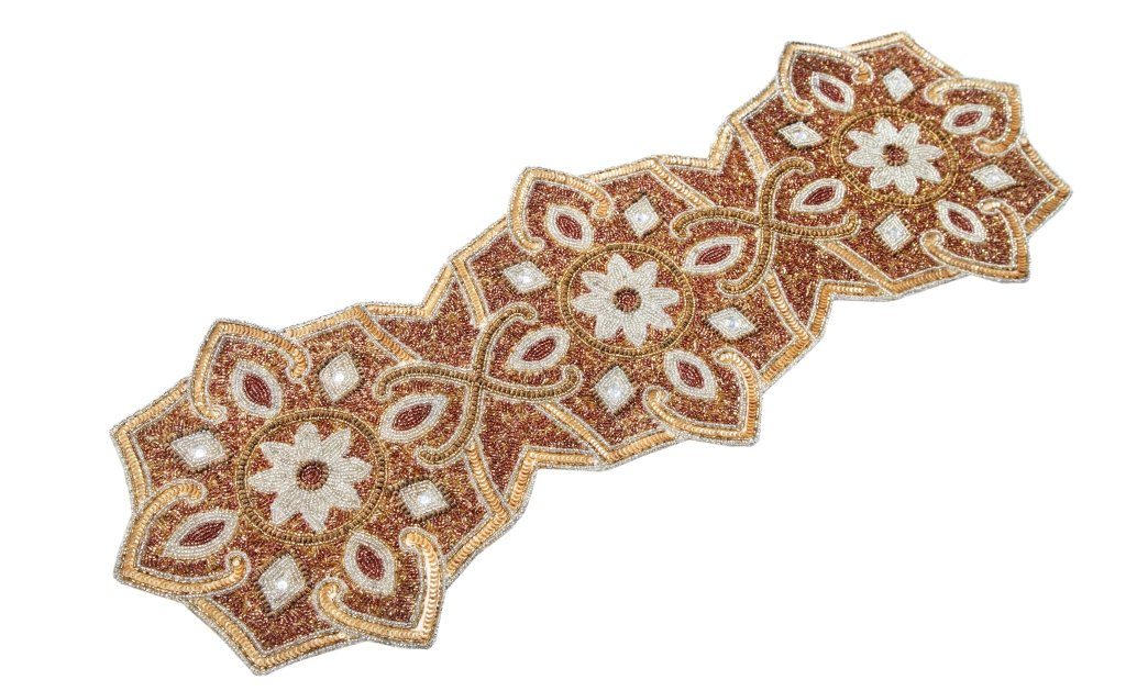 Linen Clubs Hand Made Beaded Table Runner 13x36 Inch in Rustic ivory gold Combo colors,produced by skilled village Artisans in India - A Beautiful Complements to Dinner Table Decor Offered by