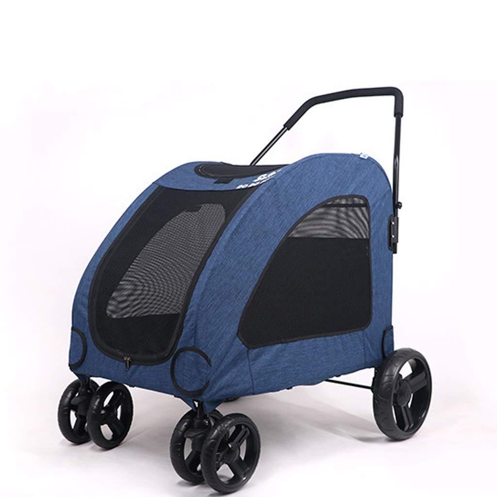 bluee Pet Stroller Large Pet Stroller Giant Dog Out Cart Stroller Big Dog Stroller Injury Old Disabled Dog Portable Stroller (color   bluee)