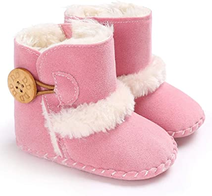 12-18 Months, Brown Jonbaem Baby Winter Buttons Snow Boots Warm Shoes Anti-Skid Plush Ankle Booties Newborn Infant Crib Boots