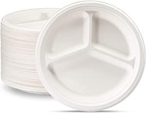 100% Compostable 9 Inch Heavy-Duty Plates [125 Pack] 3 Compartment Eco-Friendly Disposable Sugarcane Paper Plates