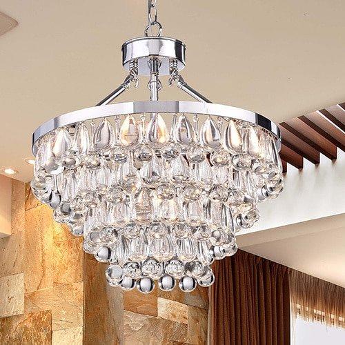 Jojospring Ivana 5-light Chrome Luxury Crystal Teardrop Chandelier (Aura Five Light Chandelier)