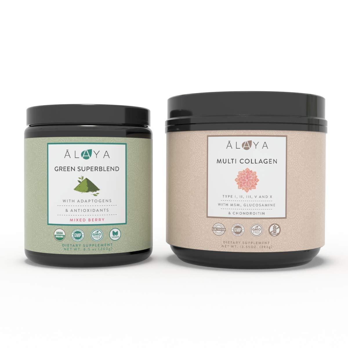 Alaya Naturals Multi Collagen and Organic Green Superblend Bundle