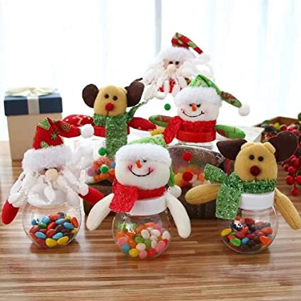 c2859656aad5 Amazon.com - Christmas Candy Jar Set of 6, Santa Claus Snowman Elk ...