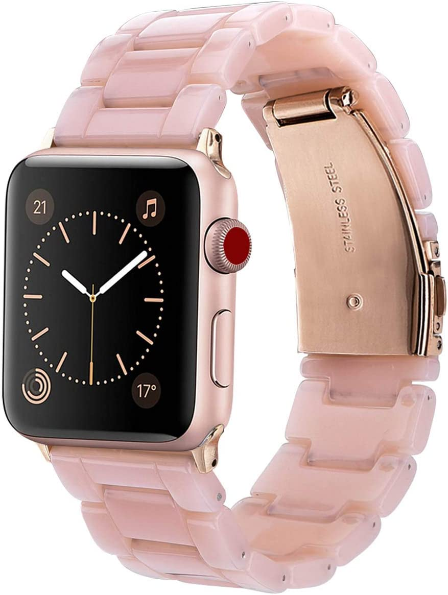 V-MORO Resin Strap Compatible with Apple Watch Bands 42mm 44mm Series 5/4/3/2/1 Women Men with Stainless Steel Buckle, iWatch Replacement Wristband Strap (Pink-Tone, 42mm)
