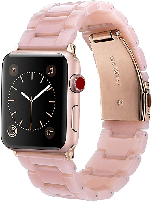 V-MORO Resin Band Compatible with Apple Watch Band 38mm 40mm Series 5/4/3/2/1 Women Men with Stainless Steel Buckle, iWatch Replacement Wristband Strap (Pink-Tone, 38mm)