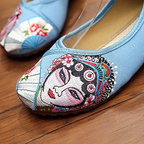 Visage D'opéra Bleu En Bozevon Plates Chaussures Tissu Brodées Vieilles Boucle À Pékin Double De wCpFOqwcU
