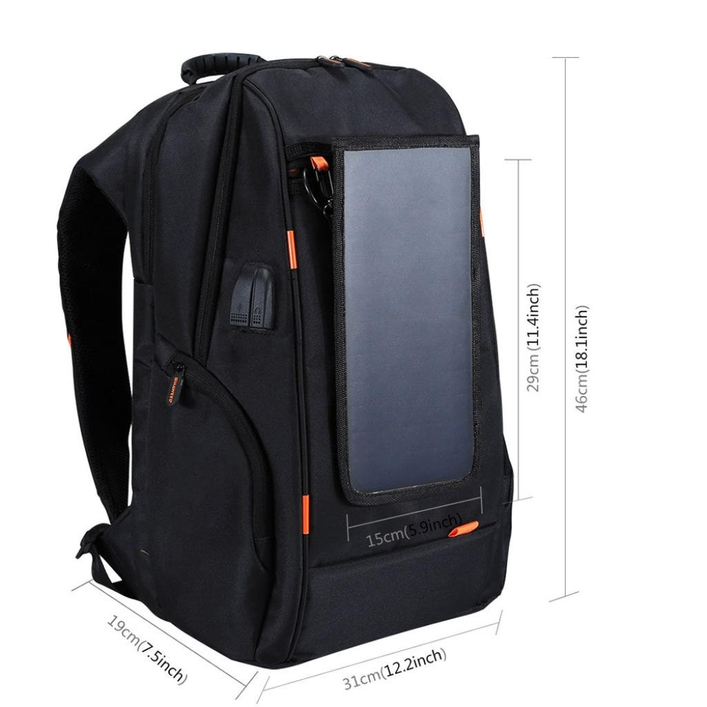 Aoopi Laptop Outdoor Backpack Multi-Function Solar Panel Power Travel Backpack USB Charging Port Breathable Backpack (Black)