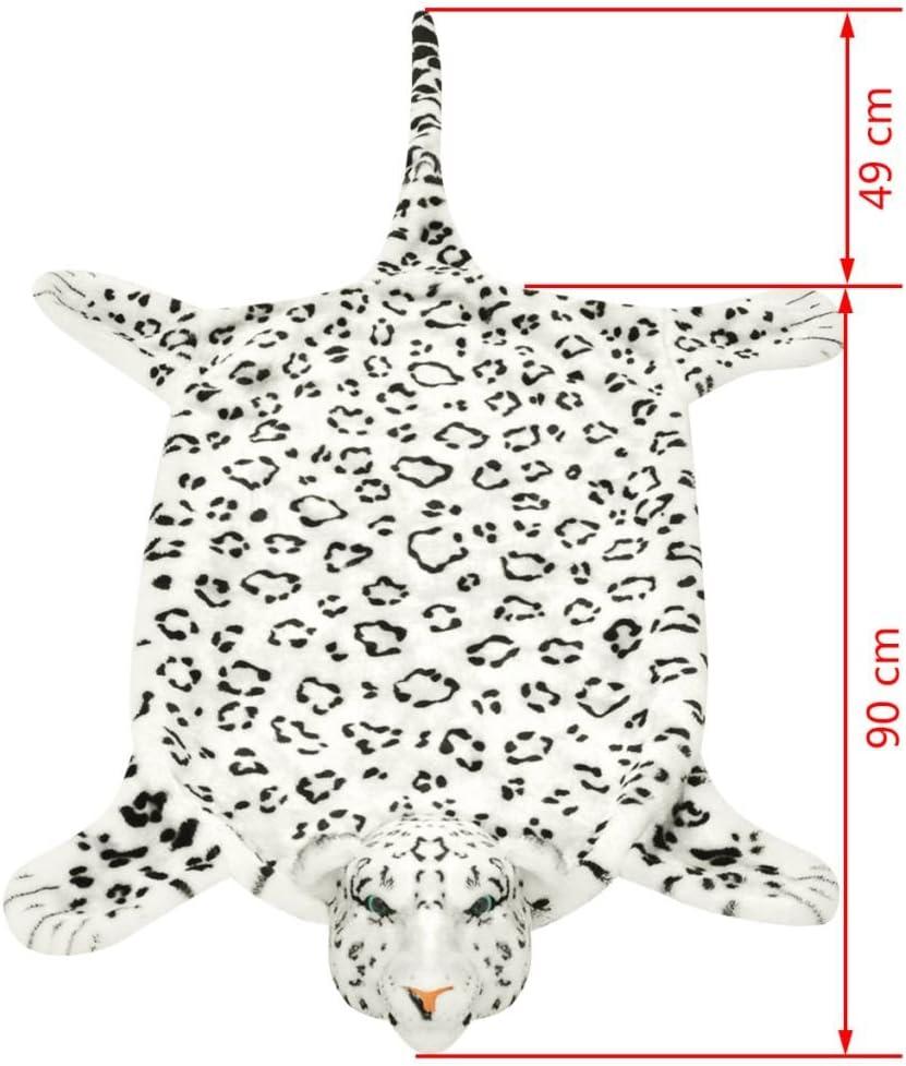vidaXL Tapis en Peluche Forme de l/éopard 139 cm Blanc
