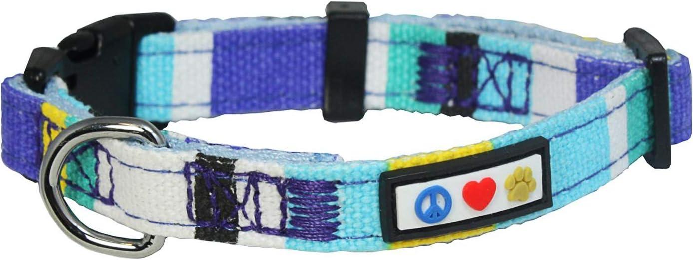 Pawtitas Collar de Perro Multicolor Collar de Cachorro Collar de Mascota Collar de Entrenamiento Extra pequeño Collar de Perro Azul/Turquesa/Blanco/Amarillo Collar de Perro