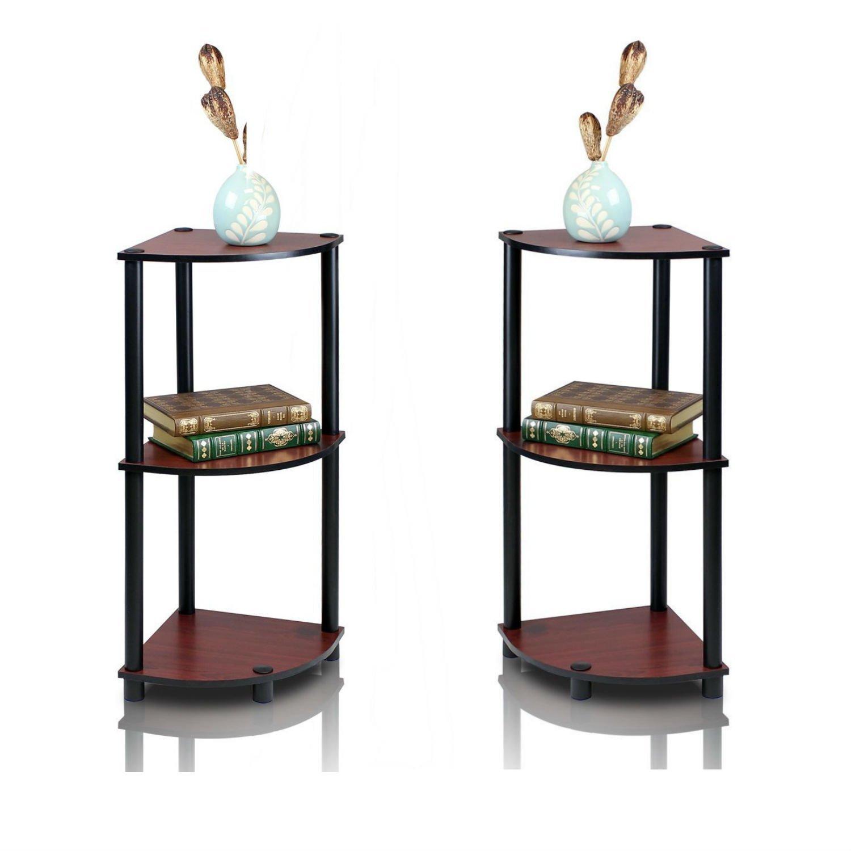 FURINO Furrino Turn'n'Tube 3-Tier Corner Display Rack Multipurpose Shelving Unit, corner shelf, corner bookcase - Pack Of 2 (Dark Cherry/Black)