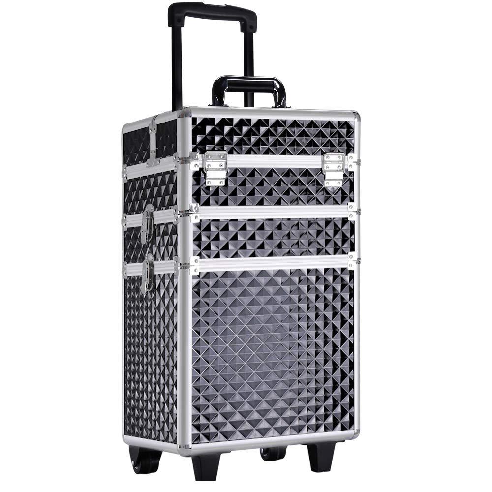 Qivange Rolling Train Case Large 3 in 1 Professional Alumium Makeup Trolley Case on Wheels Lockable Vanity Beauty Hairdressing Cosmetic Jewellery Box Storage Case w/2 Wheels & Keys, Diamond Pink
