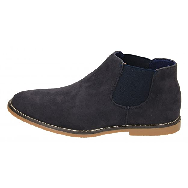 57577ccbcb437 Mens Black Navy Blue Faux Suede Leather Pull On Desert Ankle Chelsea Boots  Shoe  Amazon.co.uk  Shoes   Bags