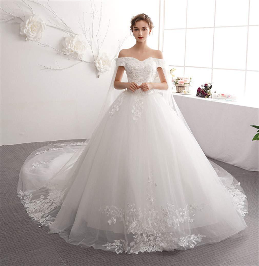 Wedding Dress, Luxurious Trailing Europe and America Satin Strapless Strap Slim Simple Sleeveless Wedding Cathedral Wedding Dress