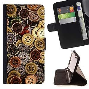 BullDog Case - FOR/Samsung Galaxy S5 V SM-G900 / - / CASINO CHIPS MONEY /- Monedero de cuero de la PU Llevar cubierta de la caja con el ID Credit Card Slots Flip funda de cuer