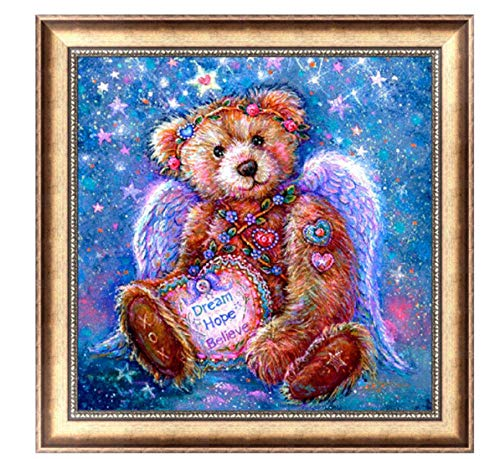 Hnfstjz DIY Diamond Embroidered 5D Cute Teddy Bear Picture New Year Gift Diamond Painting Cross Stitch Mosaic Children Room Decoration 50X50Cm
