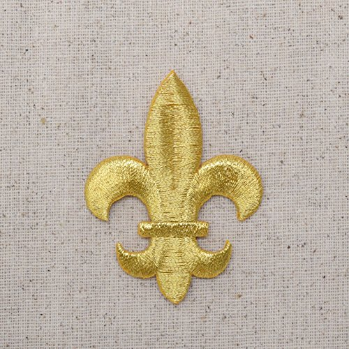 Large - Gold - Fleur De Lis - Iron on Embroidered Patch Applique (Fleur De Lis Patch)