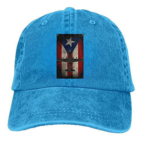 NO4LRM Men's Women's Puerto Rico Flag Cotton Adjustable Peaked Baseball Dyed Cap Adult Washed Cowboy Hat