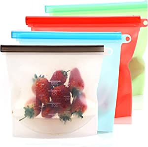 4 Pack 1000ML/32oz Reusable Silicone Food Storage Bags, Freezer Safe Gallon Kitchen Organization Bags for Food Marinate Home Travel Fruit Cereal Organizer