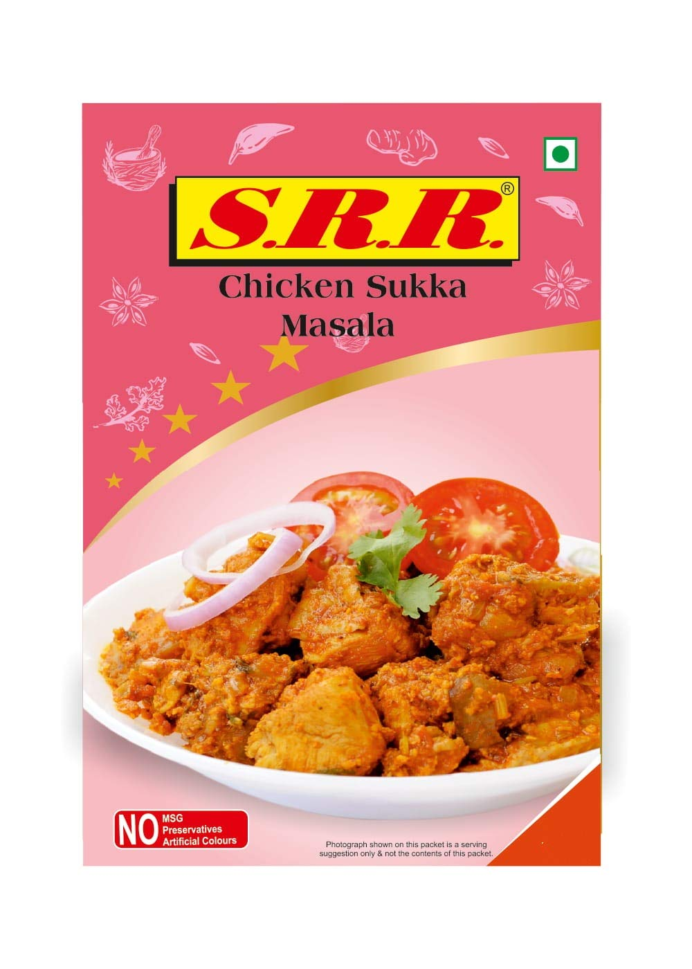 SRR MASALA Chicken Sukka/Dry 80 grams X 4 Pack of NO Artificial Colours NO Preservatives