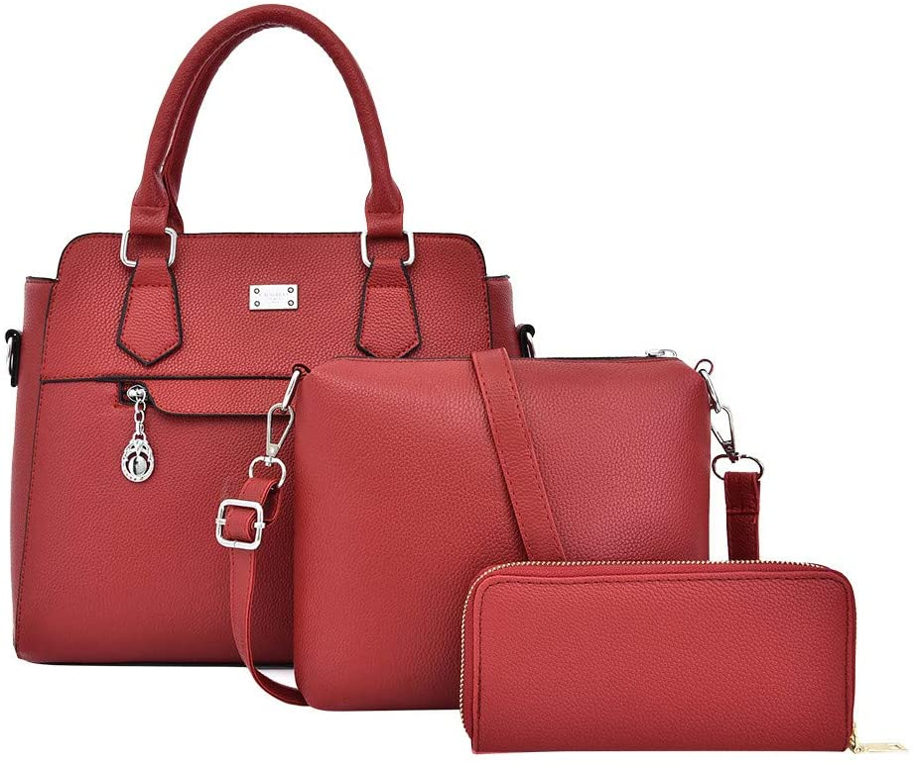 Women Girls Business Work Tote Bag Contrast Composite Bag Shoulder Crossover Handbag 3PCS Brown