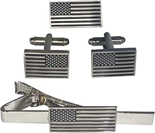product image for American Flag Cufflinks, Tie-Clip, and Lapel Pin Set - Patriotic Menswear Accessories - Military Gifts for Men - Veteran Owned and Made in USA - Set of 3 Accessories - Assault Forward