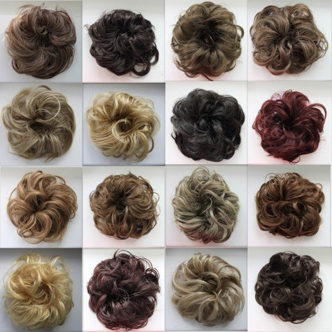 PRETTYSHOP Hairpiece Scrunchie Bun Up Do | Ponytail Extensions | Wavy Curly or Messy (Grey Brown Mix 101T30) by Prettyshop Hairpiece