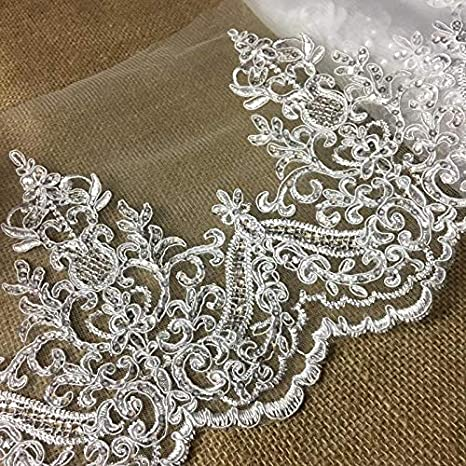 Bridal Gown Lace Ribbon Embroidered Floral Trim Gold Wedding Dress Edging 1 Yard