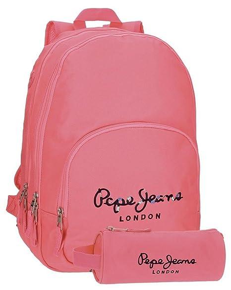 Pepe Jeans 66824A7 Harlow Mochila Escolar, 42 cm, 19.44 litros, Rosa: Amazon.es: Equipaje