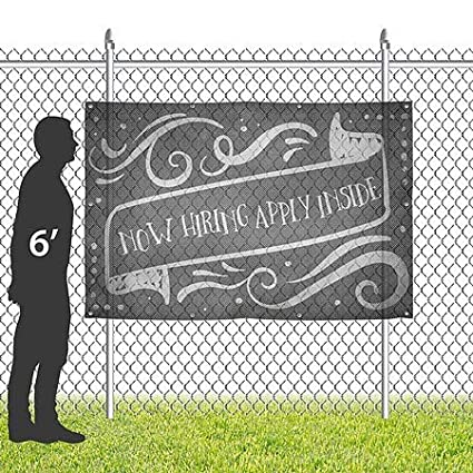 CGSignLab 12x8 Now Hiring Apply Inside Chalk Banner Wind-Resistant Outdoor Mesh Vinyl Banner