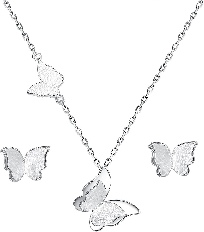 EVER FAITH Juegos de Joyas para Mujer Plata de Ley 925 Mariposa Collares Pendientes Stud Conjunto