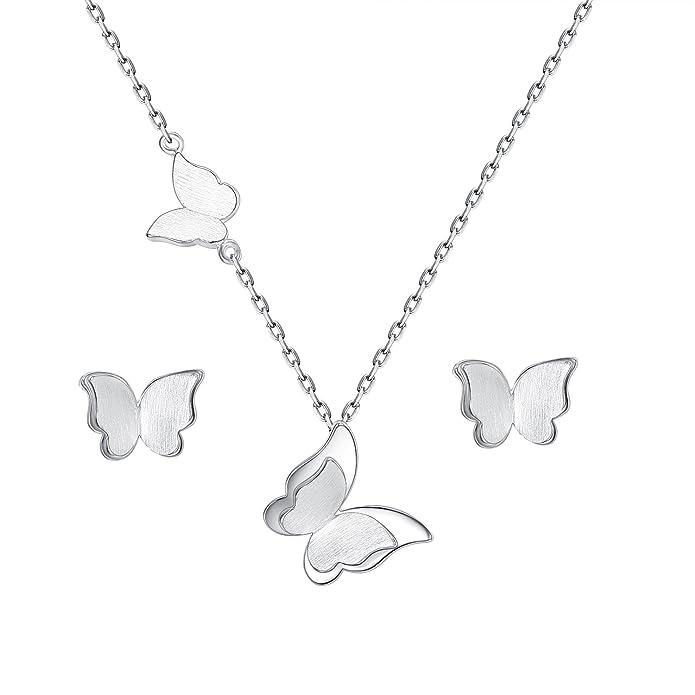 EVER FAITH Juegos de Joyas para Mujer Plata de Ley 925 Mariposa Collares Pendientes Stud Conjunto Tono Plateado