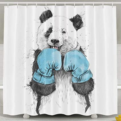 Amazon Boxing Panda Shower CurtainWaterproof Polyester