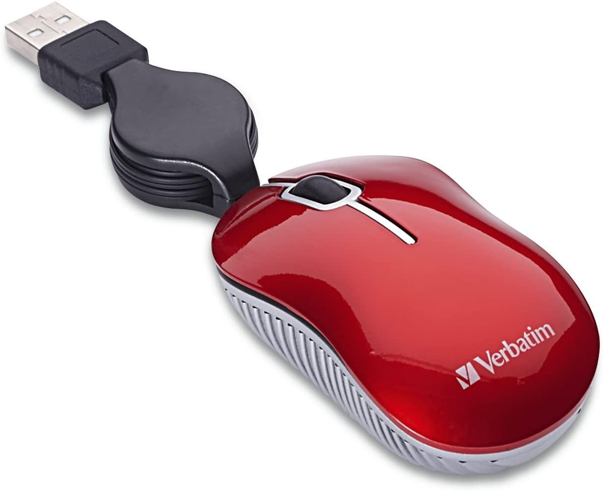 Verbatim Mini Travel Optical Mouse, Commuter Series - Red