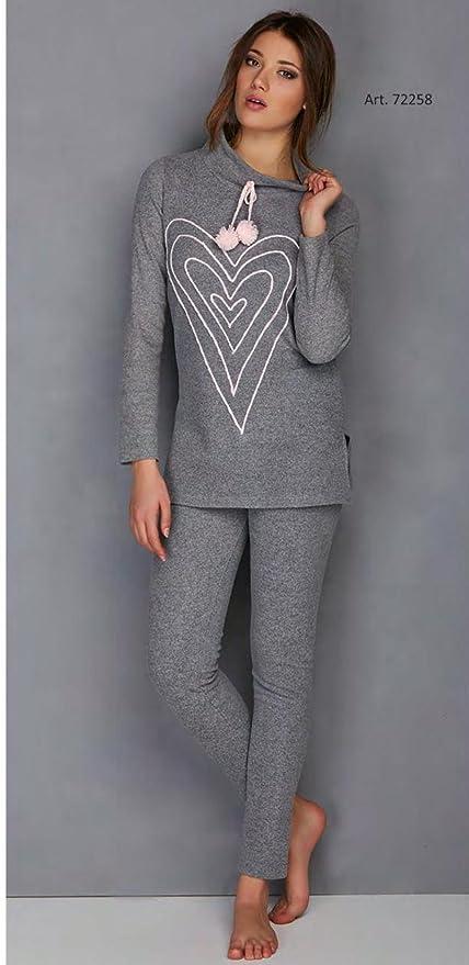 Pijama de invierno para mujer de forro polar con pompones gris 42