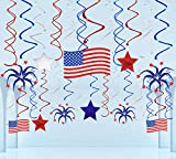 29 Ct Fourth of July Hanging Swirl Decorations - 4th of July American Patriotic Flag/Stars Red White Blue Party Supplies …