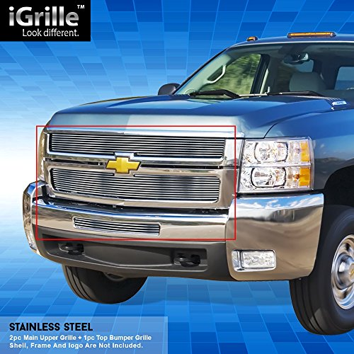 Off Roader Stainless Steel eGrille Billet Grille Grill Combo for 07-10 Chevy Silverado 2500/3500 (Silverado Billet 2500 Grille Hd)