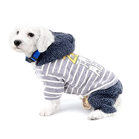 SELMAI Abrigo de invierno para perros pequeños Forro polar con capucha Escudo deportivo a rayas Traje ...
