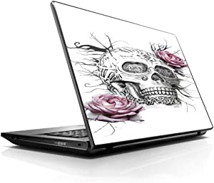 "15 15.6 inch Laptop Notebook Skin vinyl Sticker Cover Decal Fits 13.3"" 14"" 15.6"" 16"" HP Lenovo Apple Mac Dell Compaq Asus Acer / Roses in Skull"