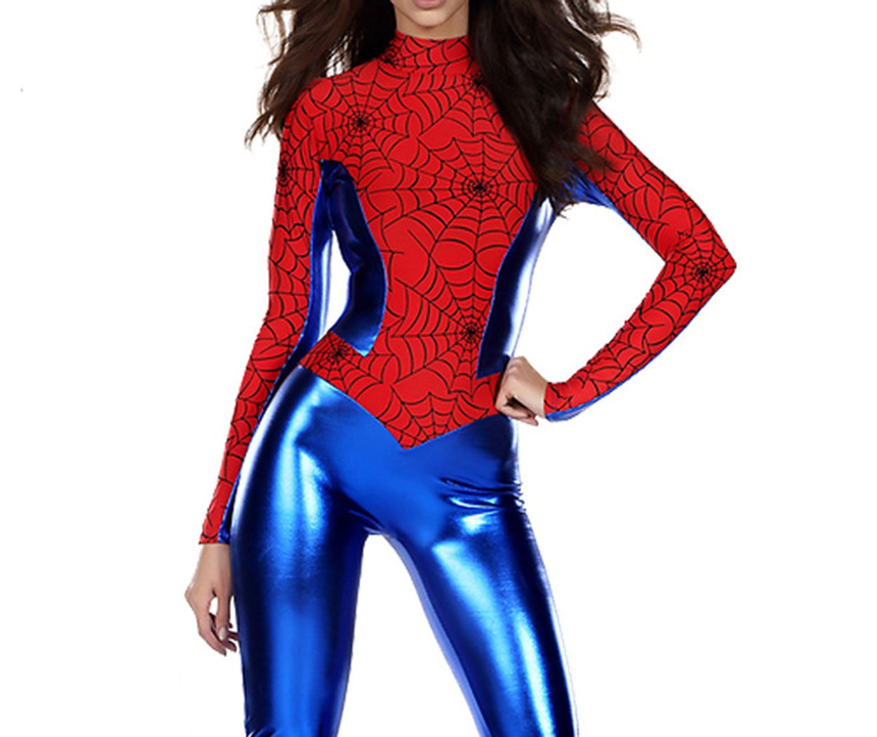 - 61myL5GnPjL - XSHUN Women Faux Leather Spiderman Costumes Cosplay Spiderman Jumpsuit Catsuit