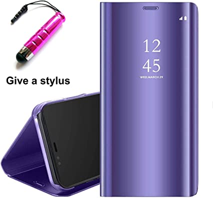 Coque Samsung J6 2018 [2 Pack] Verre trempé Miroir Case Avec Stand Fonction Flip Protection Pour Galaxy J6 2018