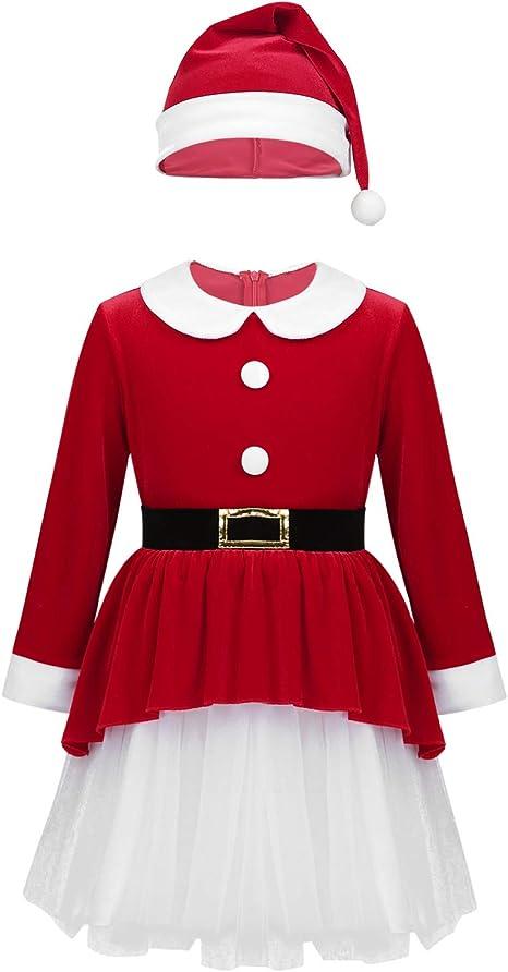 inlzdz Disfraz de Navidad Niña Vestido de Mama Noel Terciopelo ...