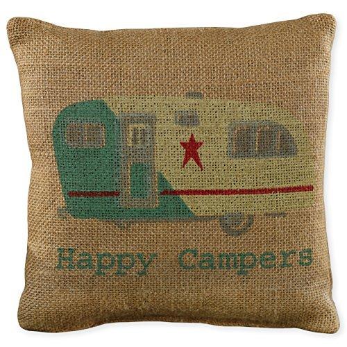 Happy Campers Small Burlap Pillow [並行輸入品] B07RCVZRKY